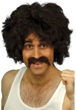 Brown Retro Footballer Wig and Moustache Set